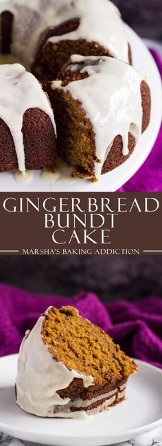Gingerbread Bundt Cake - A deliciously moist and fluffy ginger-spiced molasses cake drizzled with a pretty, sweet maple glaze.