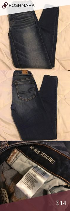 American Eagle Hi-Rise Jegging Size 4 Short   65% Cotton   23% Viscose   11% Polyester   1% Elastane   American Eagle Outfitters Jeans