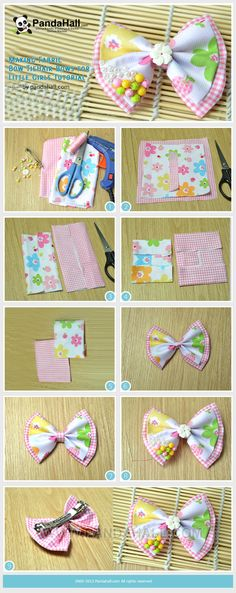 Making Fabric Bow Tie Hair Bows for Little Girls Tutorial