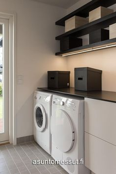 Simple laundry with overhead shelving and pale gfrey tiles Kitchen Remodel, Shelving, Sweet Home, Home Appliances, Laundry Rooms, Living Room, Interior Design, Simple, Bathroom Ideas