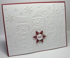 stamping up north with laurie: Less is More Embossed Snowman card