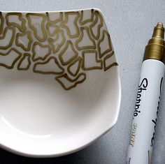 gold sharpie and bowl