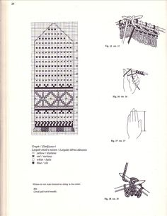 Latvian - and what looks like instructions for how to make up a Latvian braid and a ton of mitten graphs Knitted Mittens Pattern, Intarsia Knitting, Knitting Stiches, Knit Mittens, Knitting Charts, Knitted Gloves, Crochet Stitches, Hand Knitting, Knitting Patterns