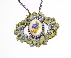 Vintage Pendant Necklace Brooch Brass Flower Stamping Limoges Cab Swarovski Crystal Blue Yellow Purple Shabby Chic Victorian Boho OOAK