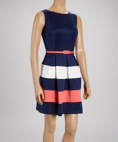 Another great find on #zulily! Navy & Coral Drop-Waist Dress #zulilyfinds