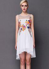White Contrast Sheer Mesh Yoke Embroidered Dress