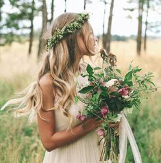 bridal inspiration - boho wedding flower crown and natural rustic wedding bouquet Floral Crown Wedding, Boho Wedding, Wedding Day, Trendy Wedding, Forest Wedding, Woodland Wedding, Autumn Wedding, Summer Wedding, Eco Wedding Ideas