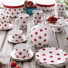 red & white polka dot dishes