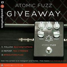 repost @paradigmeffects  ATOMIC FUZZ GIVEAWAY  One winner will be chosen at random one week from today.  Everyone is welcome to enter.  Rules to enter: 1) Follow @paradigmeffects 2) Repost this picture and tag two friends 3) Be sure to add the hashtag #freeatomicfuzz  For an additional chance to win enter on Twitter as well!  Good luck!  #guitarpedals #guitareffects #boutiquepedals #fuzz #giveaway #content #guitar #tone #gottone #guitarist #pedalgram #pedalboard