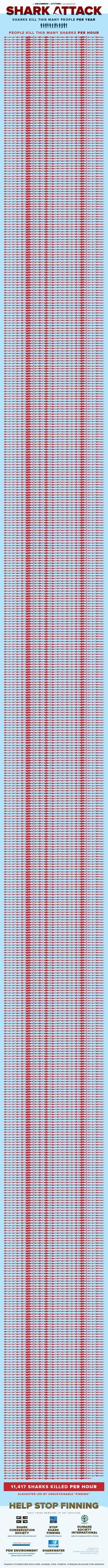 This is how many sharks are killed every hour.