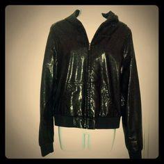 Ecko Red Faux Leather Jacket Ecko Untld Black  hooded Jacket, true to size. Jackets & Coats