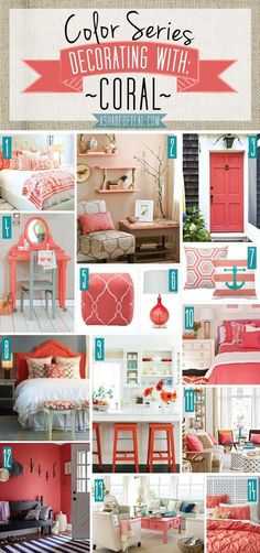 I love Coral! Here's a bunch of inspiration pics on how to incorporate Coral into your home decor. You can see how I used Coral in my Nursery Here and Here. Find all the sources below #homedecortips