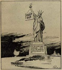 """Fred Packer's cartoon was published in theNew York Daily Mirroron June 6, 1939, alongside an editorial titled """"Ashamed!""""The editorial asserted that the Statue of Liberty """"hides her face in shame today as our now stern shores send back this refugee ship."""""""