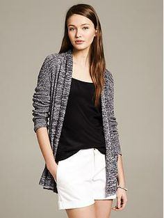 Marled Open Cardigan - Sweaters. Over v neck tank and white shorts.