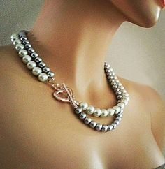Grey Pearl Necklace White Grey Pearl by PearlJewelryNecklace, $42.00