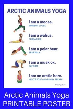 Yoga Poses : Learn about arctic animals through simple yoga poses for kids! Post includes 11 arctic animals yoga poses + purchase our Arctic Animals Yoga Cards for Kids. Kids Yoga Poses, Easy Yoga Poses, Yoga For Kids, Exercise For Kids, Yoga Meditation, Yoga Inspiration, Preschool Yoga, Yoga Fitness, Artic Animals