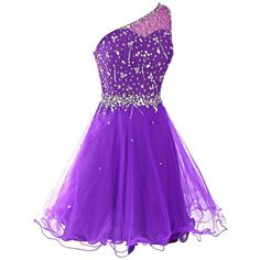 Dresstells Women's One Shoulder Prom Dresses Homecoming Dress with... ($50) ❤ liked on Polyvore featuring dresses, homecoming, beaded cocktail dress, purple homecoming dresses, purple prom dresses, cocktail prom dress and one-sleeve dress
