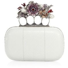 Alexander McQueen Snakeskin Floral Knuckle Box Clutch ($3,695) ❤ liked on Polyvore featuring bags, handbags, clutches, apparel & accessories, white, box clutch, knuckle clutches, white handbags, snakeskin purse and floral print handbags