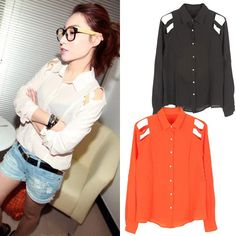 Womens Shoulder Cut Out Inserts Hollow Chiffon Long-sleeved Blouses Shirts Tops