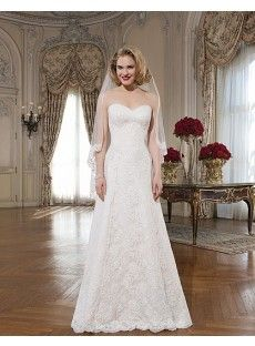 Sweetheart Lace Appliques A Line Wedding Dress