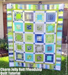 Charm Jelly Roll Friendship Quilt Tutorial. Made from two charm packs and a jelly roll from 'Simply Color'.