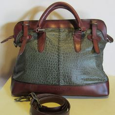XL Liebeskind leather bag, tote bag, hobo, gorgeous green leather bag, with strong brown leather.Germany. near mint !!