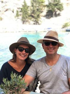 """""""My husband and I in our Emthunzini hats in Greece. Bought in Cape Town. Best hats ever! Style up in a his and hers BEAU or OSCAR sun hat. Raffia Hat, Safari Hat, Outdoor Hats, Hat Blocks, Summer Hats, Sun Hats, Cape Town, Panama Hat, Greece"""