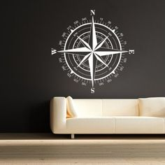 """Compass Rose Nautical Vinyl Wall Decal Travel Decor Christmas Gift Holiday Gifts(White, 22""""h x22""""w)"""