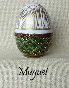 "MUGUET ""LILY OF THE VALLEY"" Painted Eggs  AF Limoges Boxes Hand painted Porcelain from Limoges, France."