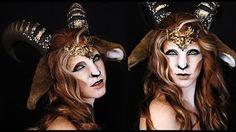 Faun Makeup Tutorial Mythological Creatures Collaboration You Faun Makeup, Elf Makeup, Cosplay Makeup, Costume Makeup, Medusa Makeup, Mermaid Makeup, Makeup Art, Halloween Kostüm, Halloween Makeup