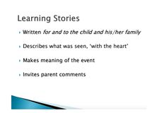 By: Diane Kashin, Ed.D, RECE. I have been thinking about pedagogical documentation and specifically learning stories. Learning stories are based on the work of Dr. Margaret Carr and Wendy Lee of Ne… Learning Stories, Classroom Setting, Early Childhood Education, Early Learning, Child Development, Meant To Be, Parenting, Writing, Reggio