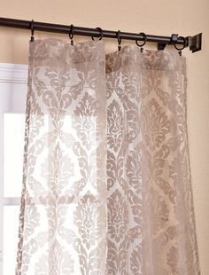 Loretta Taupe Patterned Sheer Curtain