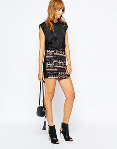 Vila Embrodiered Aztec Mini Skirt