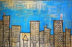 blue and yellow cityscape