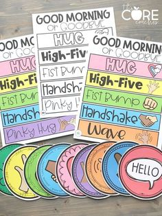 These colorful greeting signs will immediately impact your classroom culture! Post on your classroom door as teacher or a student greeter warmly welcomes clas First Grade Classroom, Classroom Behavior, Classroom Community, Classroom Setting, Future Classroom, Classroom Teacher, Classroom Signs, Welcome Door Classroom, Classroom Ideas