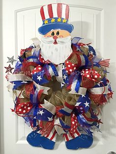 4th of July Wreath, Extra Large July 4th Wreath, Uncle Sam Wreath, Uncle Sam, Patriotic Wreath, Flag Wreath, July 4th Decor, Patriotic Decor by CharmingBarnBoutique on Etsy