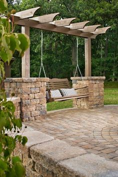 An idea for a sociable & relaxing swing with sturdier than not looking posts design & pleasantly smelling & shading vine-able trellis top for warm months, especially if without a porch