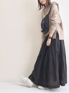 Street Hijab Fashion, Muslim Fashion, Modest Fashion, Fashion Outfits, Fashion Ideas, Long Skirt Fashion, Hijab Stile, Modele Hijab, Korean Fashion Trends
