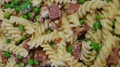 This recipe is SUPER simple and incredibly tasty. If you like Pasta Aglio Olio (pasta with garlic and olive oil), you'll LOVE this. The salty, garlicky salami with the sweet green peas --  MMMM! You'll find yourself making it all the time!