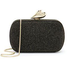 Diane von Furstenberg 'Love Diamond' Black Glitter Box Clutch (41.660 HUF) ❤ liked on Polyvore featuring bags, handbags, clutches, black, heart handbag, oversized clutches, oversized purses, clasp purse and heart purse