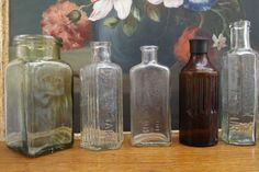 Collection of Antique Glass Bottles-Including  Benbow s Dog Mixture Cure