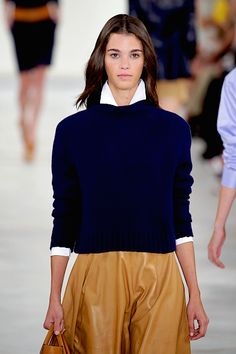 MY WHITE JIL SANDER BLOUSE, BLUE GENTRY POTOFINO SWETER, TAN THE ROW LEATHER LEGGINGS   Ralph Lauren Spring 2016