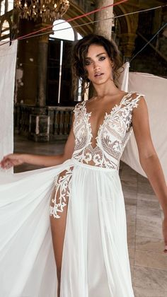 Sexy Deep V Neck Beach Wedding Dresses Side High Slit Lace Appliqued Illusion Bodice Sweep Train Bohomian Wedding Bridal Gowns is part of Bohemian wedding dress lace Condition Brand New Custo - Sexy Wedding Dresses, Lace Wedding, Wedding Dress Beach, Sexy Reception Dress, Slit Wedding Dress, Wedding Dress Types, Wedding Rings, Wedding Summer, Trendy Wedding