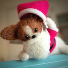 .@momos_gallery | I made a papillon Santa Claus 2 , Needle Felting | Webstagram