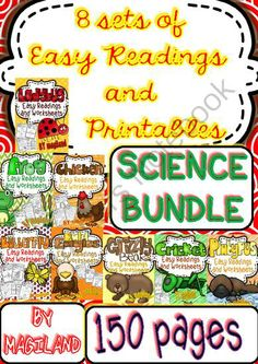 Science Easy Readings and Printables Bundle of 8 sets from Magiland from Magiland on TeachersNotebook.com (150 pages)  - This is a compilation of eight sets related to Science centers for the classroom. They have to do with all about BUTTERFLIES - CHICKENS - FROGS, LADYBUGS, BALD EAGLES, PLATYPUSES, GRIZZLY BEARS and CRICKETS. Save Money!!!