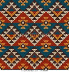 Illustration of Traditional Tribal Aztec Pattern. Seamless Knitting Ornament vector art, clipart and stock vectors. Cross Stitching, Cross Stitch Embroidery, Embroidery Patterns, Cross Stitch Patterns, Pattern Images, Pattern Design, Motifs Aztèques, Maori Patterns, Mochila Crochet