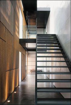 steel stair, timber screen, black + white