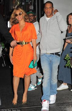 Date night: Beyonce and Jay Z were spotted leaving their New York office together on Wednesday before heading to dinner in the West Village