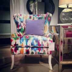 Apartment Therapy at High Point - Drexel Heritage's Tie Dyed Wingback Chair High Point Market Fall 2012 Selling Furniture, Funky Furniture, Furniture Makeover, Home Furniture, Furniture Projects, Colorful Chairs, Cool Chairs, Take A Seat, My Room