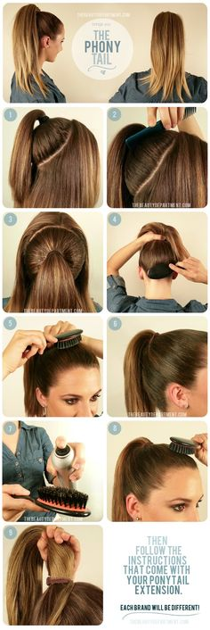 Double pony tail for more volume! Great idea! (Minus the last bogus bit about a ponytail extension.)